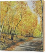 On Golden Road Wood Print