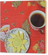 On The Eve Of Christmas. Tea Drinking With Cheese. Wood Print