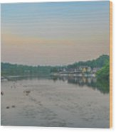 On The Schuylkill River At Boathouse Row - Philadelphia Wood Print