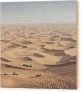 One 4x4 Vehicle Off-roading In The Red Sand Dunes Of Dubai Emirates, United Arab Emirates Wood Print