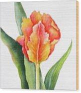 Orange Flame Wood Print