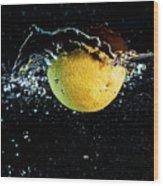 Orange Splashing In Water Wood Print