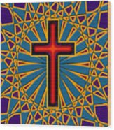 Ornamental Cross Wood Print