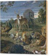Orpheus And Animals Wood Print