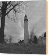 Overcast Lighthouse Wood Print