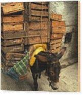 Overloaded Donkey Wood Print
