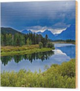 Oxbow Bend Storm Clouds Wood Print