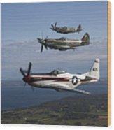 P-51 Cavalier Mustang With Supermarine Wood Print