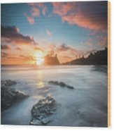 Pacific Sunset At Olympic National Park Wood Print