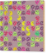 Pacman Seamless Generated Pattern Wood Print
