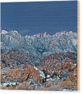 Panoramic Winter Morning Alabama Hills Eastern Sierras California Wood Print