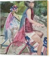 Parade Cyclers Wood Print