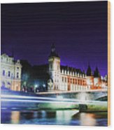 Paris At Night 15 Art  Wood Print