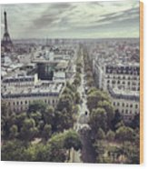 Paris Cityscape From Above, France Wood Print