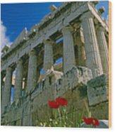 Parthenon With Poppies Wood Print