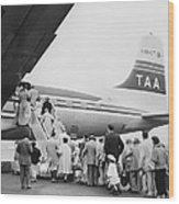 Passengers Boarding Airplane Wood Print