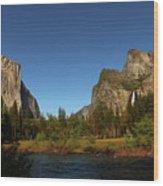 Peaceful Merced River Wood Print