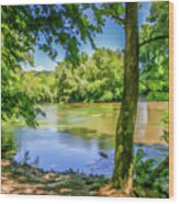 Peaceful On The River Wood Print