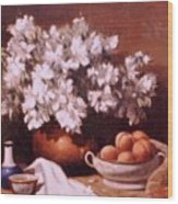 Peaches And Flowers Wood Print
