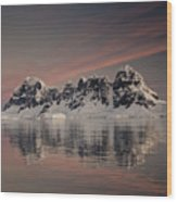 Peaks At Sunset Wiencke Island Wood Print by Colin Monteath