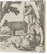 Peasant Couple With Cow Wood Print