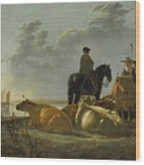 Peasants And Cattle By The River Merwede Wood Print