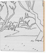Pen Landscape Wood Print