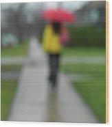 People In The Rain Wood Print