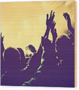 People With Hands Up In Night Club Wood Print