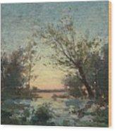 Per Ekstrom, French Landscape In Sunset. Wood Print