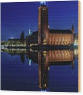 Perfect Stockholm City Hall Blue Hour Reflection Wood Print