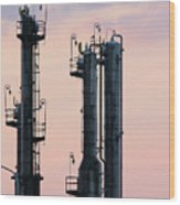 Petrochemical Plant Industry Zone Twilight Wood Print
