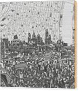Philadelphia Skyline Map 4 Wood Print