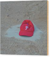Phillies Hat On Home Plate Wood Print