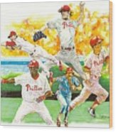 Phillies Through The Ages Wood Print