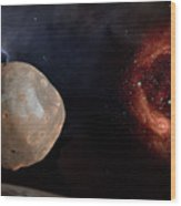 Phobos In The Space Over Mars Wood Print