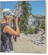 Photographer In Yosemite Waterfalls Wood Print