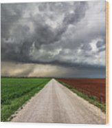 Pick A Side - Colorful Fields Divided By Road On Stormy Day In Oklahoma. Wood Print