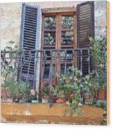 Pienza Balcony Wood Print