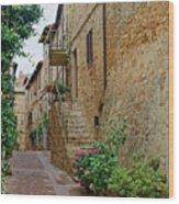 Pienza Street Wood Print