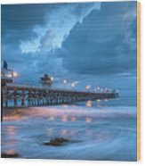 Pier In Blue Wood Print by Gary Zuercher