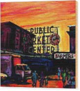 Pike Place Wood Print