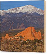 Pike's Peak And Garden Of The Gods Wood Print