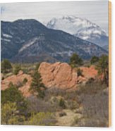 Pikes Peak From Red Rocks Canyon Wood Print