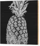 Pineapple Isolated On Black Wood Print
