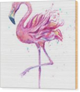 Pink Flamingo Watercolor Wood Print