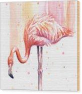 Pink Flamingo Watercolor Rain Wood Print
