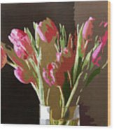 Pink Tulips In Glass Wood Print