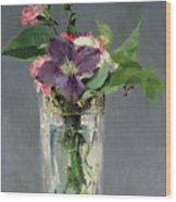 Pinks And Clematis In A Crystal Vase Wood Print