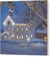 Pioneer Church At Christmas Time Wood Print by Utah Images